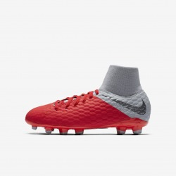 NIKE JR HYPERVENOM 3 ACADEMY DF FG FOOTBALL BOOTS Color carmesi
