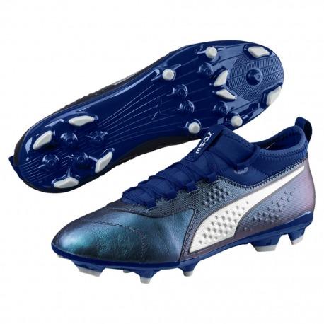 Botas de Fútbol PUMA ONE 3 Lth AG Color azul-plata