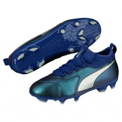 Football Boots PUMA ONE 3 Lth FG Junior Blue-Silver