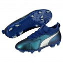Football Boots PUMA ONE 3 Lth FG Junior Blue-Silver