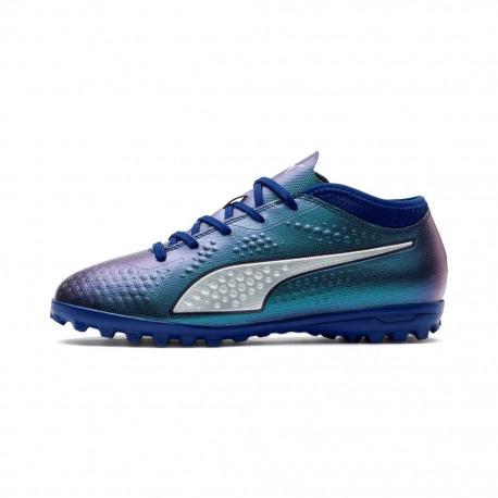 Botas de fútbol PUMA ONE 4 Syn Turf Junior Color azul-plata