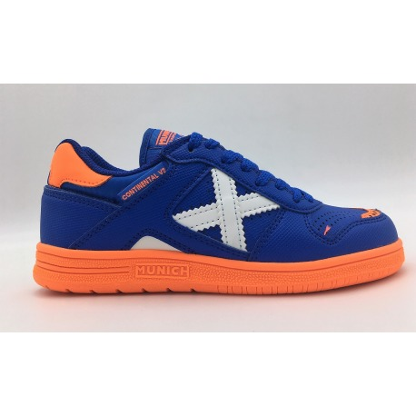Zapatillas de fútbol sala MUNICH CONTINENTAL KID V2 azul-naranja