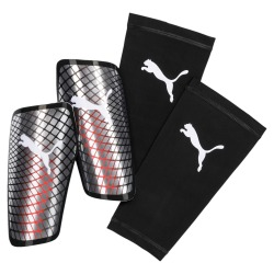 Puma Standalone Shin guards Metallic silver-nrgy red