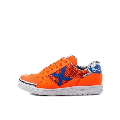 MUNICH G-3 KID INDOOR Orange Indoor Football Shoe