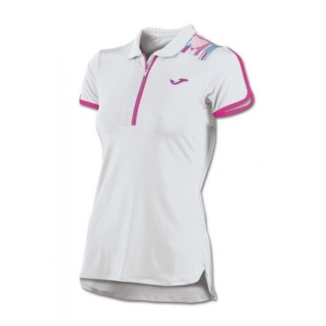 POLO MUJER JOMA TRENDY WHITE PINK