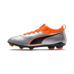 Botas de Fútbol PUMA ONE 3 Lth FG Plata - Naranja