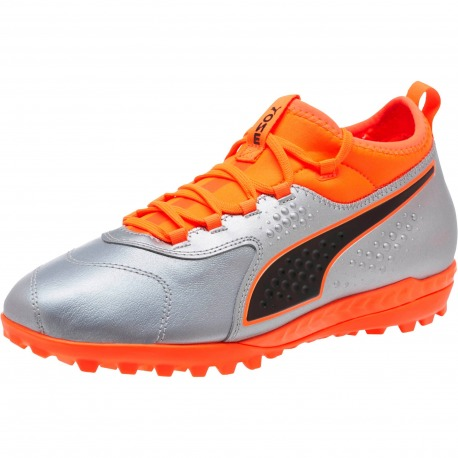 1eba7410ecbb7 Botas de fútbol PUMA ONE 3 Lth Turf Plata - Naranja