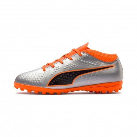 6842421ba Soccer Solution Store | Puma One 4 Syn Turf Junior Silver Orange