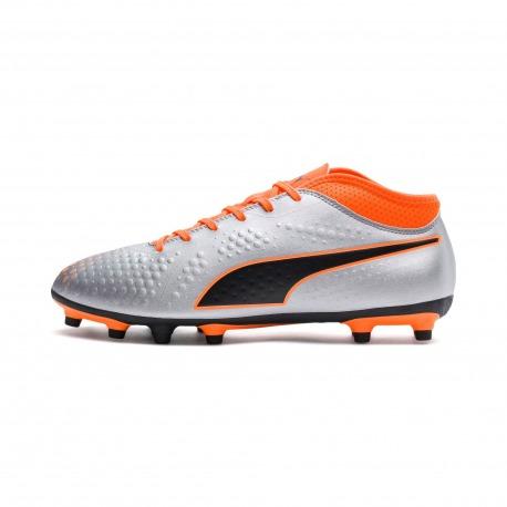 Botas de Futbol PUMA ONE 4 Syn FG Plata - Naranja