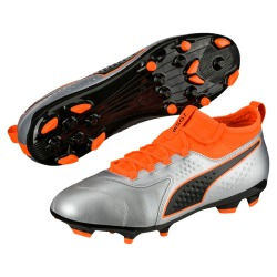 Football boots PUMA ONE 3 Lth AG Silver - Orange