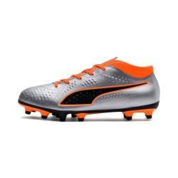 Botas de fútbol PUMA ONE 4 Syn FG Junior Plata-Naranja
