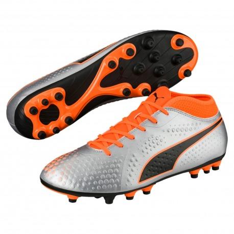 Botas de fútbol PUMA ONE 4 Syn AG Plata-Naranja