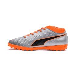 Botas de fútbol PUMA ONE 4 Syn Turf Plata-Naranja